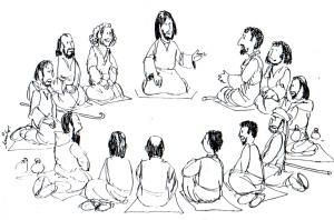Jesus reunido con sus discipulos